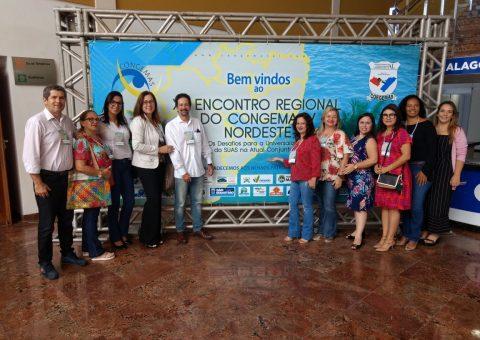 Equipe técnica da Secretaria Municipal de Assistência Social e Políticas para a Mulher durante a realização do Congemas, em Maceió